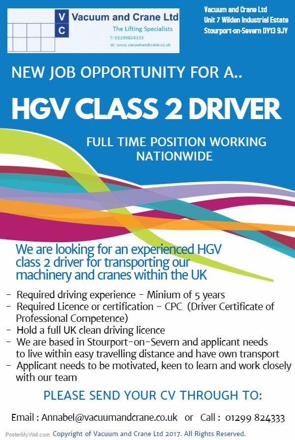 new job opportunity  u2013 hgv class 2 driver